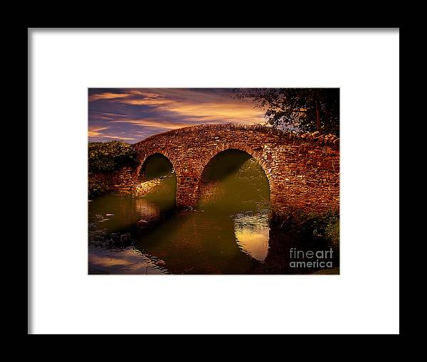 Exmoor National Park Framed Print featuring the photograph Sun Set Over Packhorse Bridge by Nigel Hatton