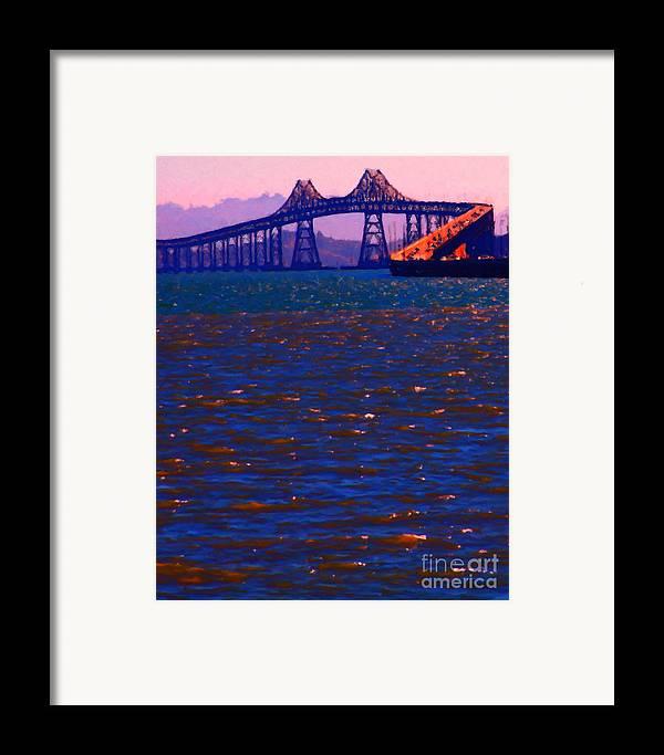 San Francisco Framed Print featuring the photograph Sun Setting Beyond The Richmond-san Rafael Bridge - California - 5d18435 by Wingsdomain Art and Photography