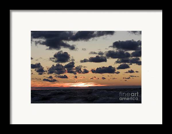 Horizontal Framed Print featuring the photograph Sun Setting With Dramatic Clouds Over Lake Michigan by Christopher Purcell