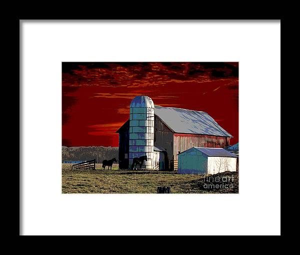 Sundown On The Farm Framed Print featuring the digital art Sundown On The Farm by Jimi Bush
