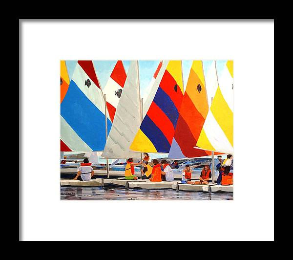 Sunfish Framed Print featuring the painting Sunfish Bootcamp by Keith Wilkie