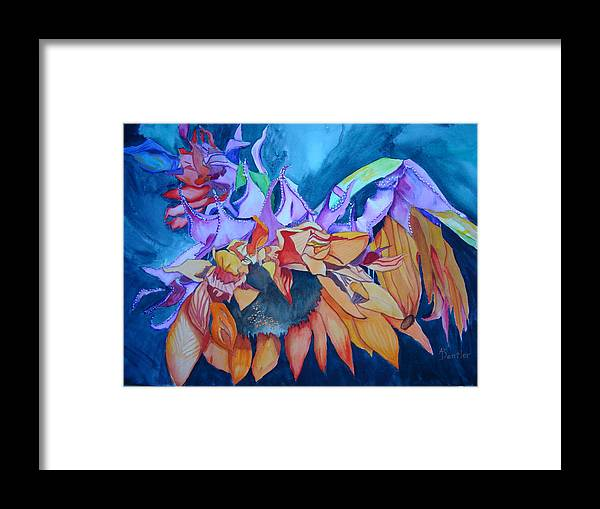 Florals Framed Print featuring the painting Sunflower by AnnE Dentler