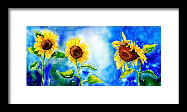 Floral Framed Print featuring the painting Sunflowers by Art by Carol May