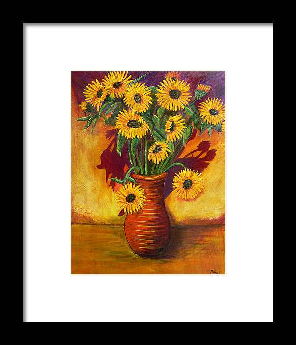 Sunflowers Framed Print featuring the painting Sunflowers by Mark Malone