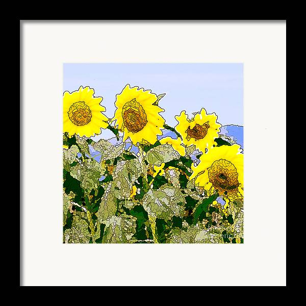 Sunflowers Framed Print featuring the painting Sunflowers Sunbathing by Artist and Photographer Laura Wrede