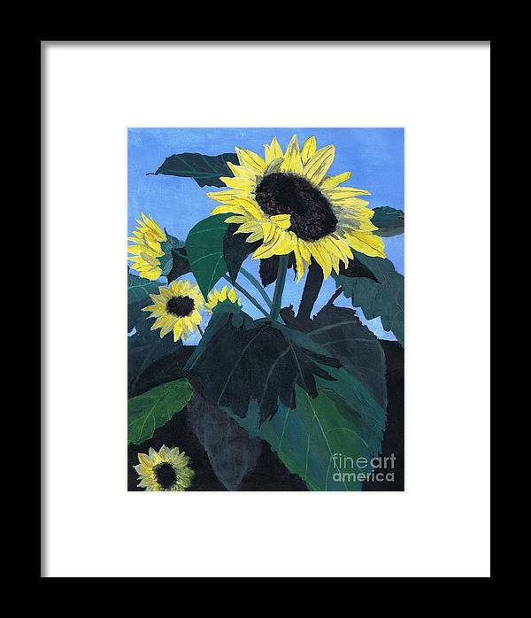 Sunflower Framed Print featuring the painting Sunflowers by Teri Naomi