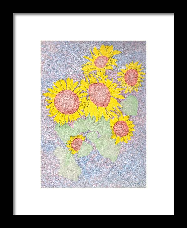 Flowers Framed Print featuring the drawing Sunflowers by Timothy Huff