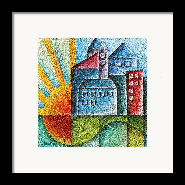 Paint Framed Print featuring the painting Sunny Town by Jutta Maria Pusl