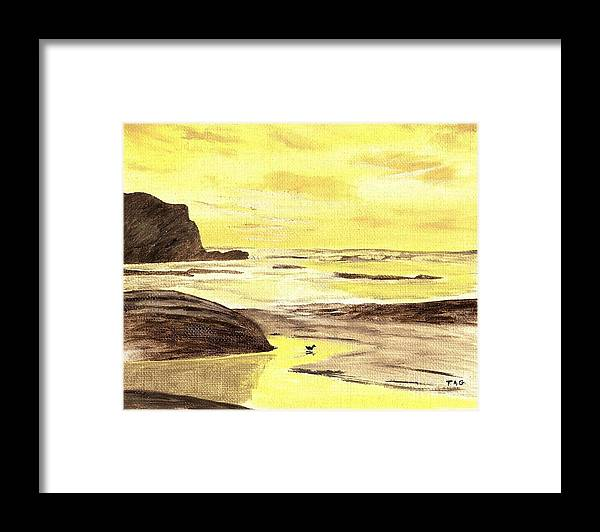 Sunrise Framed Print featuring the painting Sunrise At The Seashore by Jessi and James Gault