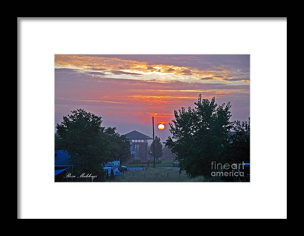 Framed Print featuring the photograph Sunrise From Backyard by Reza Mahlouji