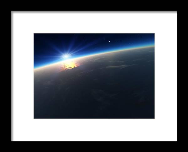 Earth Framed Print featuring the photograph Sunrise Over Earth, Artwork by Detlev Van Ravenswaay