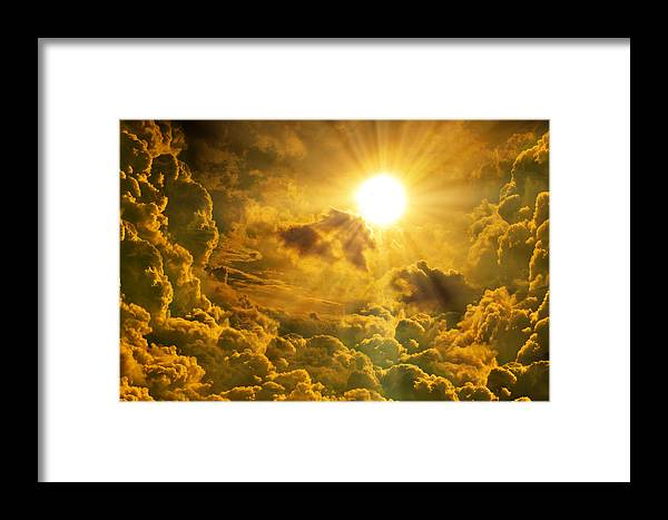 Abstract Framed Print featuring the mixed media Sunrise With Clouds by Nattapon Wongwean