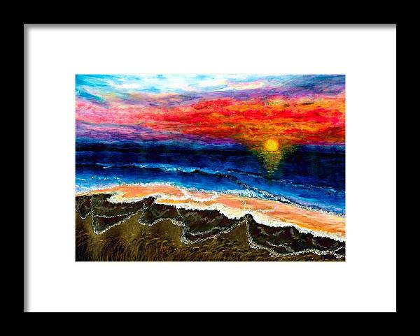 Sunset Framed Print featuring the painting Sunset After the Storm by Tanna Lee M Wells