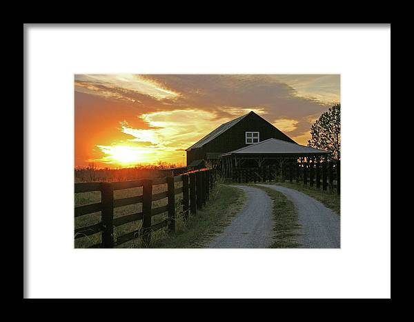 Sunset Framed Print featuring the photograph Sunset At The Farm by Christopher Hignite