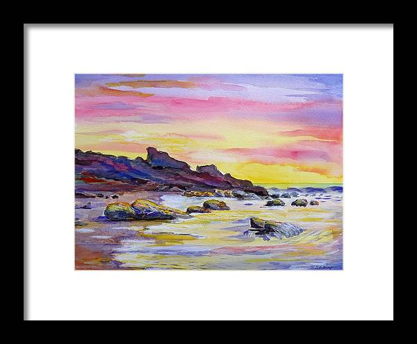 Original Framed Print featuring the painting Sunset Beach by Saga Sabin