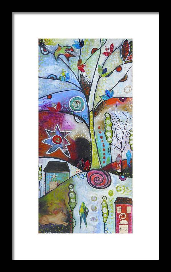Houses Framed Print featuring the mixed media Sunset Dream by Shannon Crandall