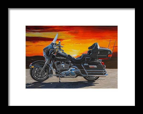 Harley Davidson Framed Print featuring the painting Sunset Electraglide by Robert Gray
