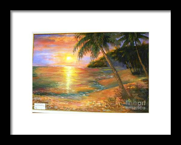 Tropics' Framed Print featuring the painting Sunset In The Tropics by Mary Lou Meyer