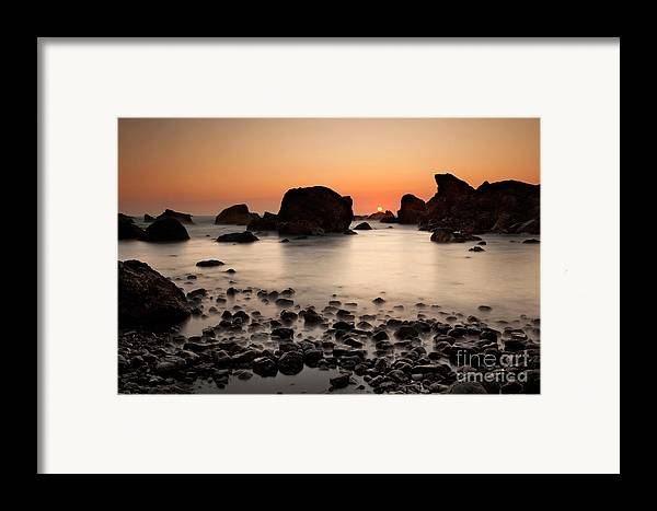 Water Photography Framed Print featuring the photograph Sunset On A Rock by Keith Kapple