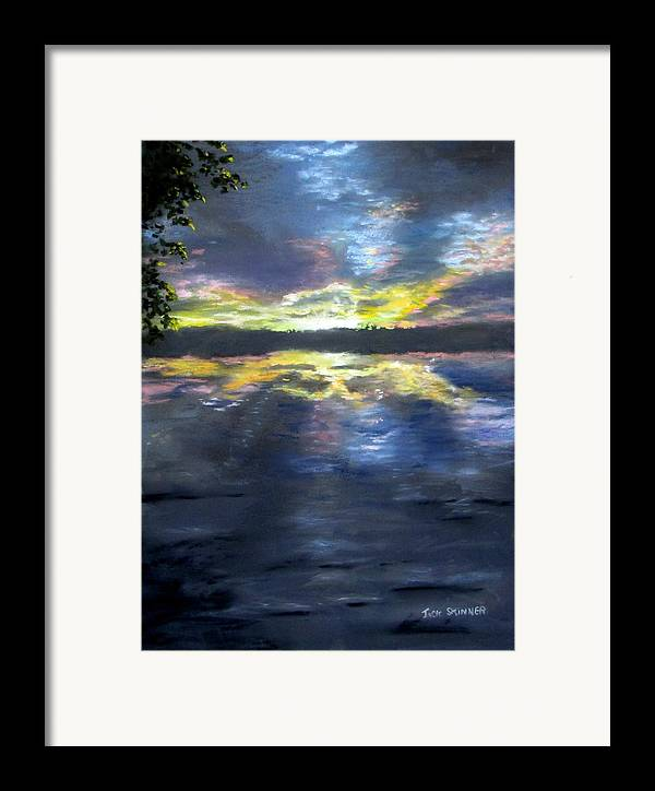 Sunset Framed Print featuring the painting Sunset Over Mystic Lakes by Jack Skinner