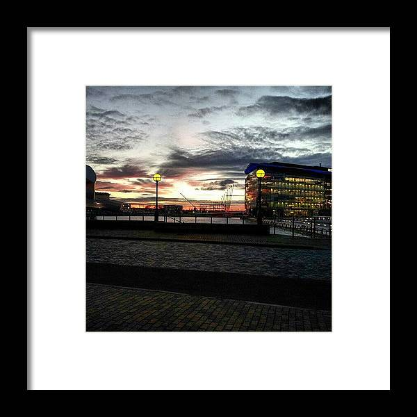 Salford Framed Print featuring the photograph #sunset #salfordquyes #salford #bbc by Abdelrahman Alawwad