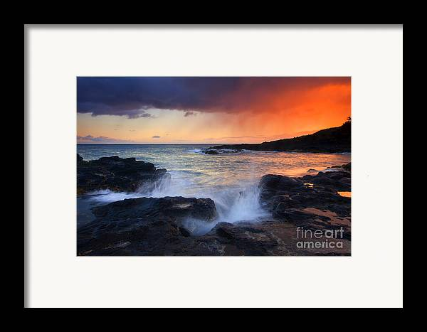 Waves Framed Print featuring the photograph Sunset Storm Passing by Mike Dawson