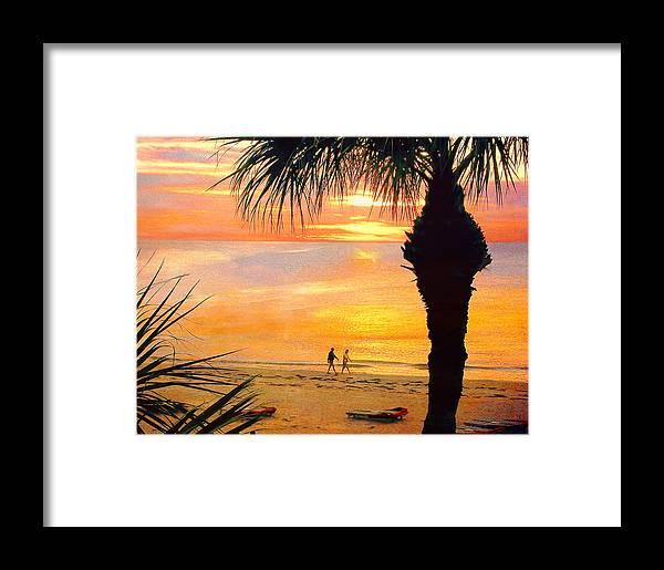 Sunset Framed Print featuring the photograph Sunset Stroll by Stephen Warren