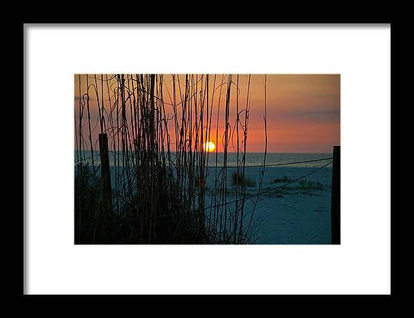 Sunset Framed Print featuring the photograph Sunset Through Beach Grass by Christine Stonebridge