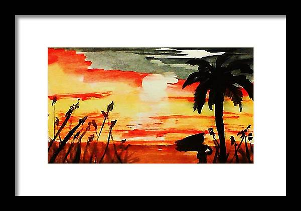 Seascape Framed Print featuring the painting Sunset Under The Palm Tree by Anna Lewis