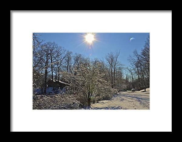 Sun Fresh Snow Framed Print featuring the photograph Sunshine In The Snow by Nancy Rohrig