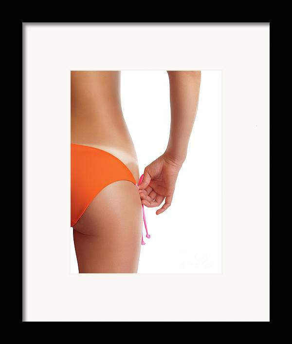 Suntan Framed Print featuring the photograph Suntanned Woman Showing Tan Lines by Oleksiy Maksymenko