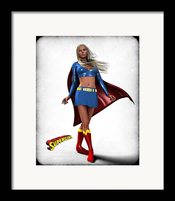 Super Heroe Framed Print featuring the digital art Super Girl by Frederico Borges