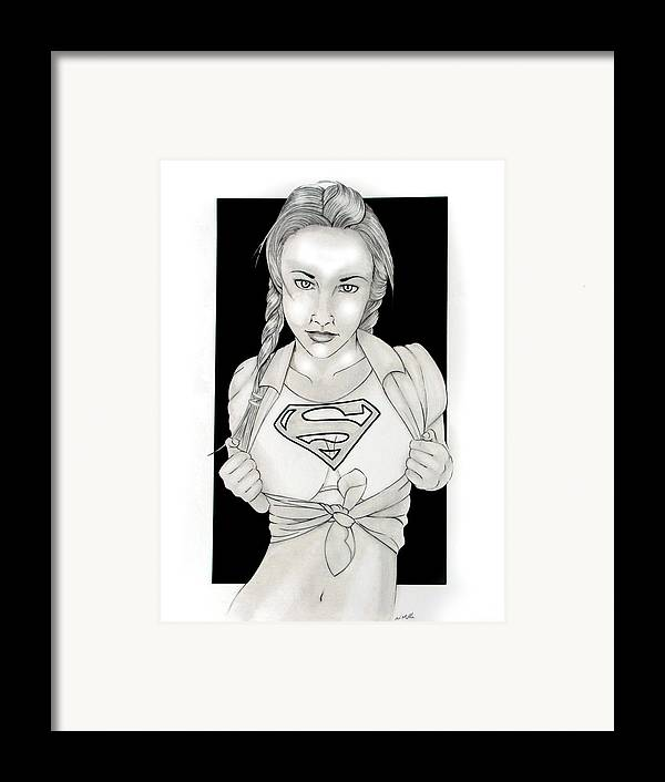 Dc Comics Framed Print featuring the drawing Supergirl by Nathan Miller