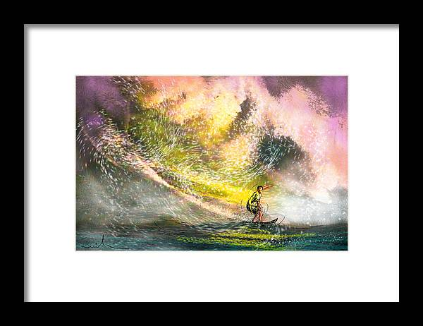 Sports Framed Print featuring the painting Surfscape 02 by Miki De Goodaboom