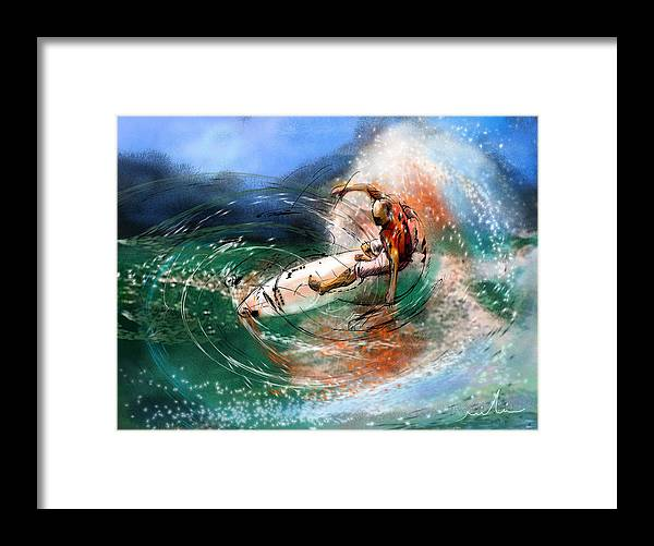 Sports Framed Print featuring the painting Surfscape 03 by Miki De Goodaboom