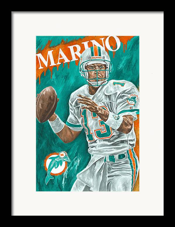Dan Marino Miami Dolphins Football Quarterback Sports David Courson Framed Print featuring the painting Surveying The Field by David Courson