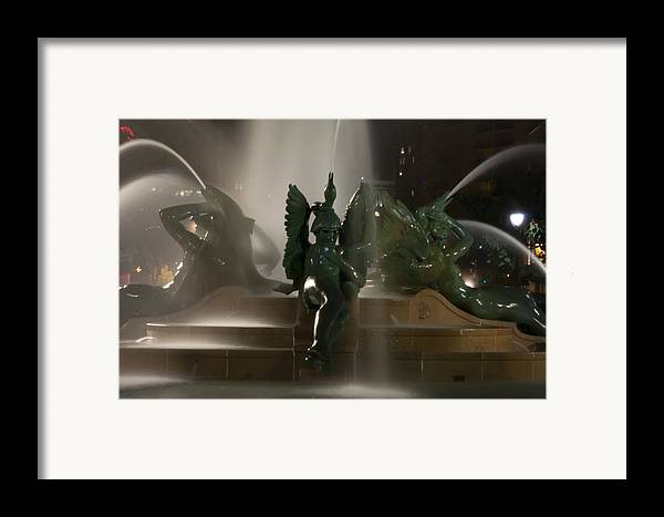 Fountain Framed Print featuring the photograph Swann Fountain At Night by Bill Cannon