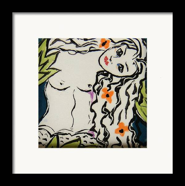 Mermaid Framed Print featuring the ceramic art Sweet Mermaid by Patricia Lazar