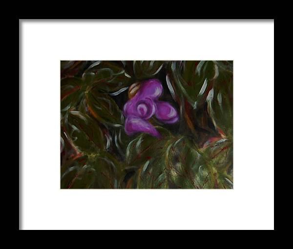 Nature Framed Print featuring the painting Sweet pea by Joseph Ferguson