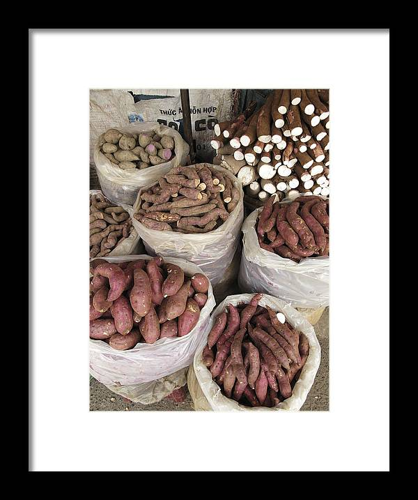 Sweet Potato Framed Print featuring the photograph Sweet Potato And Cassava Roots by Bjorn Svensson