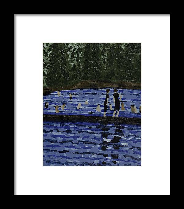 Swimming Framed Print featuring the painting Swimming At The Res by Kurt Olson