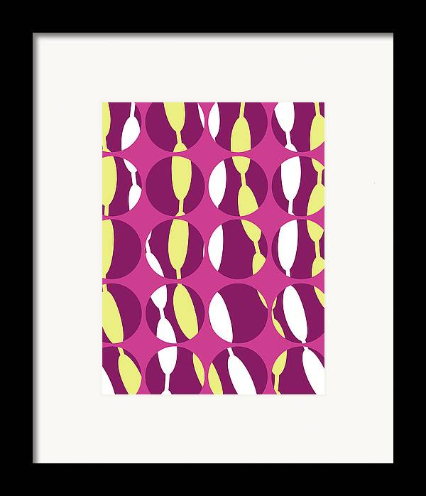 Louisa Knight Framed Print featuring the digital art Swirly Stripe by Louisa Knight