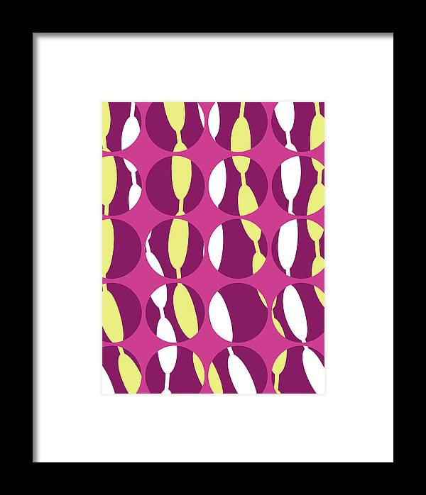 Louisa Knight Framed Print featuring the digital art Swirly Stripe by Louisa Knight