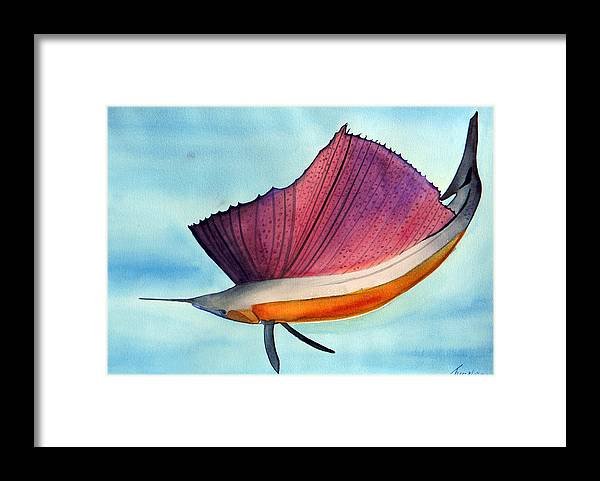 Swordfish Fish Atlantic Pacific Marine Sea Sealife Framed Print featuring the painting Swordfish Watercolor Of National Georgraphic Photo by The Nothing Machine Ink