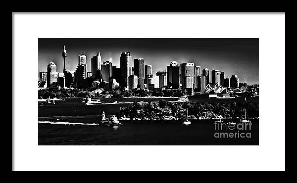 Sydney Harbour Monochrome Framed Print featuring the photograph Sydney Harbour Monochrome by Sheila Smart Fine Art Photography