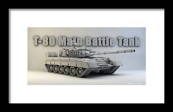 Military Framed Print featuring the digital art T-80 Main Battle Tank by Dale Jackson