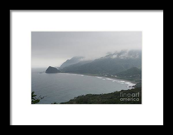 Water Framed Print featuring the digital art Taiwan Inlet With Clouds by Maxine Bochnia
