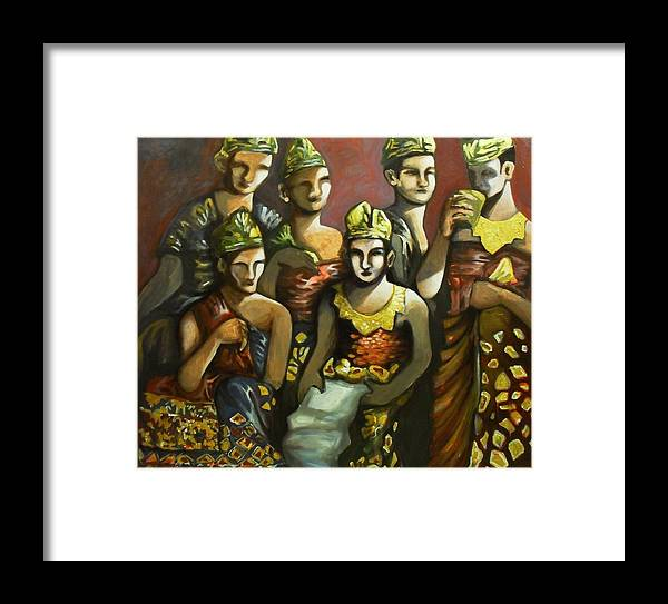 Balinese Performers Framed Print featuring the painting Taking A Break by Fakhri Bohang