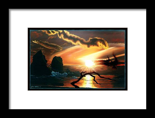 Tandem Framed Print featuring the painting Tandem by James Mulvania