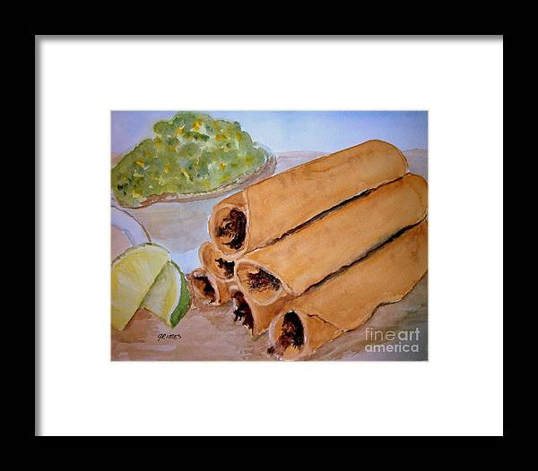Taquitos Framed Print featuring the painting Taquitos With Salsa by Carol Grimes